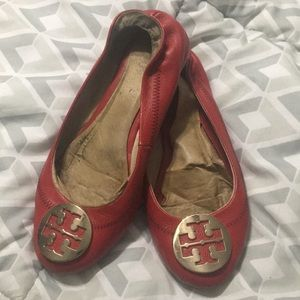 Tory Burch Red Reva Flats